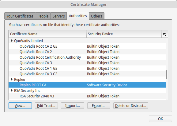 Firefox certificate is added to authorities list