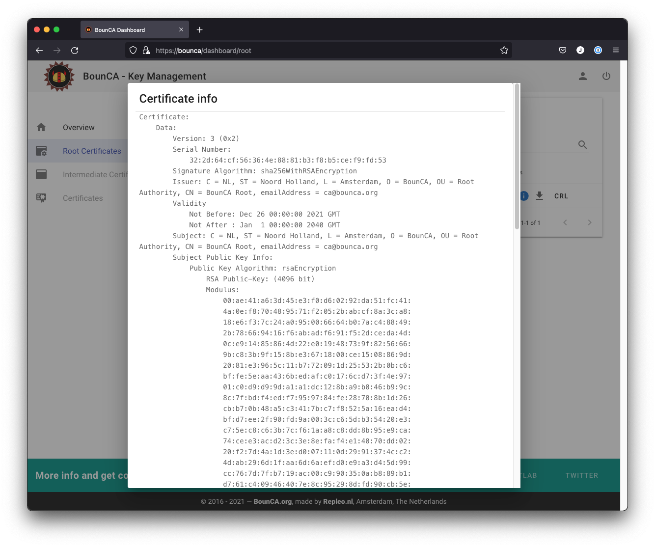Site structure — BounCA org generate self-signed SSL